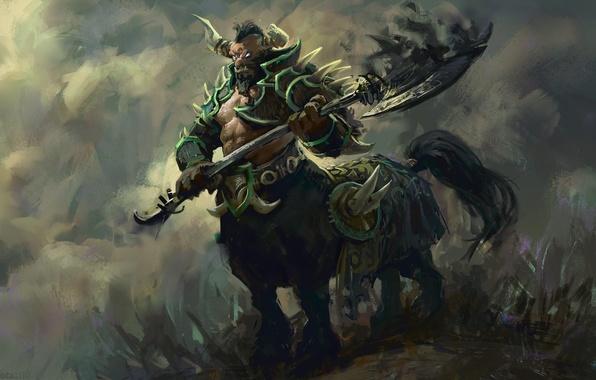 Картинка арт, рога, броня, топор, живопись, кентавр, Dota 2, Centaur, Warrunner