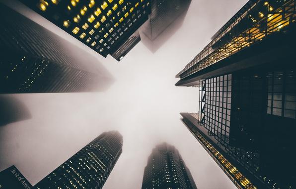 Картинка город, туман, дома, небоскребы, США, высотки