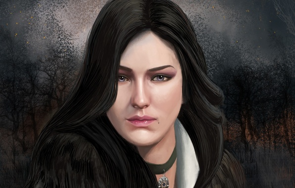 Картинка глаза, взгляд, art, чародейка, Witcher 3: Wild Hunt, Yennefer of Vengerberg, Йеннефэр из Венгерберга, фиалковые, …