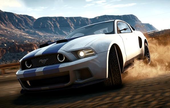 Картинка Mustang, Ford, Shelby, Песок, Игра, Машина, Скорость, Форд, Занос, Мустанг, Дрифт, Drift, NFS, Speed, Game, …