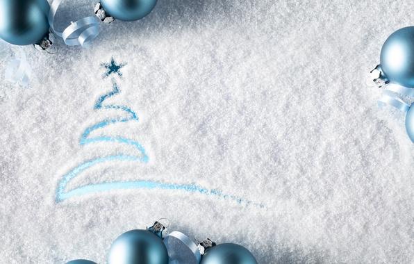 Картинка снег, украшения, шары, Новый Год, Рождество, Christmas, balls, winter, snow, decoration, Merry