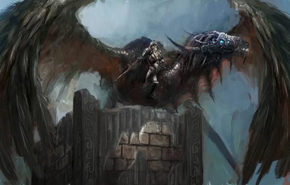 Картинка оружие, фантастика, дракон, крылья, меч, доспехи, воин, арт, шлем, броня