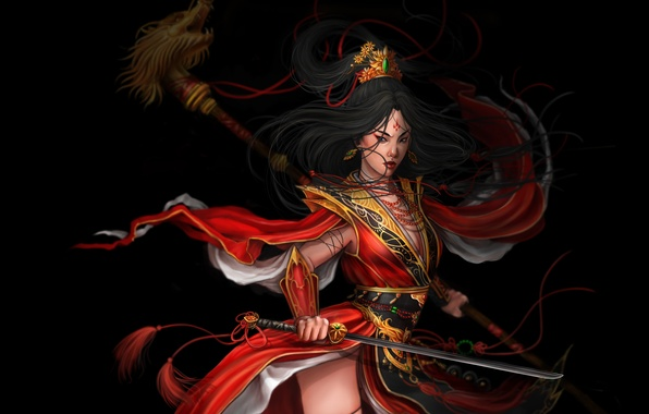 Картинка взгляд, девушка, поза, оружие, фантастика, арт, самурай, черный фон