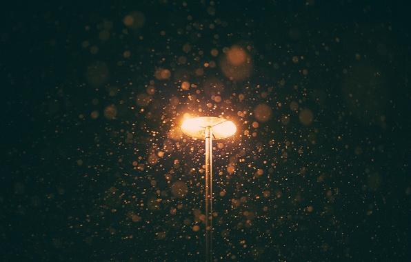 Картинка light, winter, snowing, lamp post