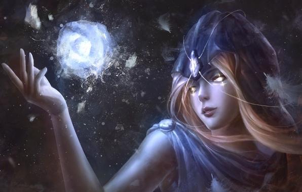 Картинка лед, взгляд, девушка, фантастика, магия, камень, перья, арт, капюшон