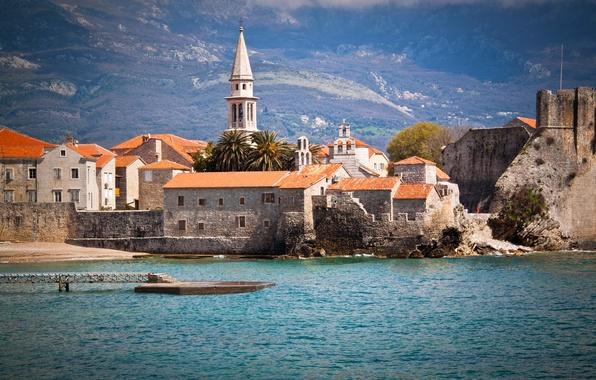 Картинка море, пейзаж, горы, берег, дома, причал, Черногория, Budva