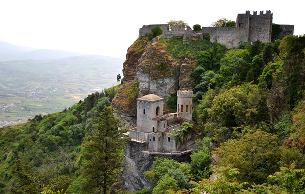 Картинка небо, деревья, горы, скала, замок, долина, Италия, Сицилия, Эриче