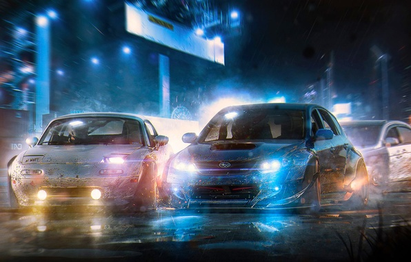 Картинка Subaru, Impreza, WRX, Mazda, Race, Cars, Art, STI, Speed, Nigth, Run, by Khyzyl Saleem, MX5