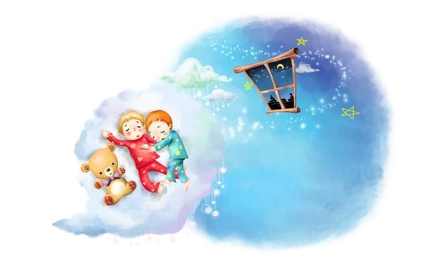 Картинка облака, детство, рисунок, сон, звёзды, месяц, окно, малыши, плюшевый мишка, пижамы