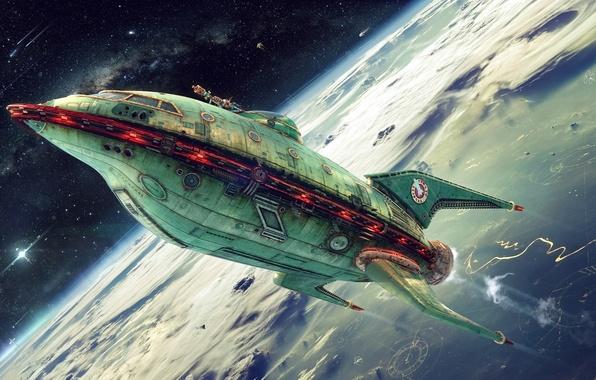 Картинка Futurama, planet, Planet Express, ship company, green ship
