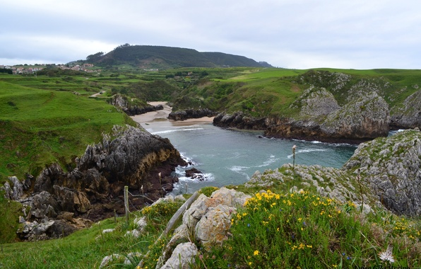 Картинка природа, гора, домики, Испания, Spain, вода., Cantabria, Кантабрия