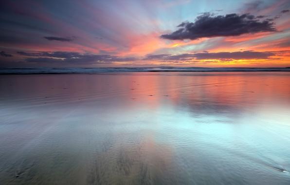 Картинка облака, закат, океан, новая зеландия, sky, sunset, Last Light, auckland new zealand, water, seascape