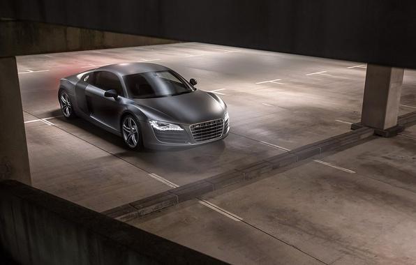 Картинка Audi, Black, Quattro, Matte, View, Parking, V10, Supercar, Plus, Top