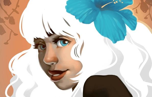 Картинка цветок, взгляд, девушка, лицо, улыбка, волосы, белоснежные