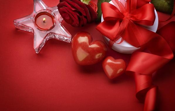 Картинка подарок, роза, сердца, сердечки, день влюбленных, день святого валентина, свечка, valentines day