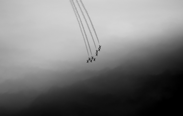 Фото обои darkness, sky, Red Arrows
