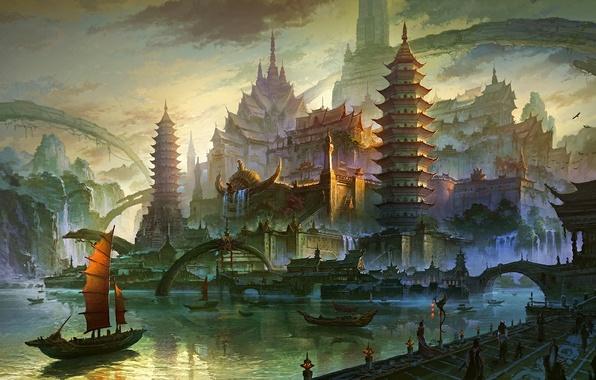 Картинка море, горы, мост, город, река, скалы, азия, здания, пристань, башня, водопад, парусник, корабли, причал, арт, …