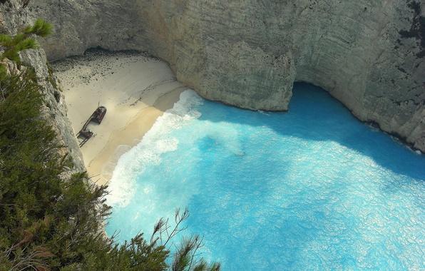 Картинка песок, море, пляж, обрыв, вид, высота, Греция