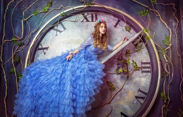Картинка девушка, модель, часы, клетка, платье, азиатка