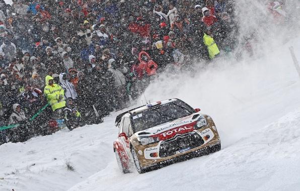 Картинка Зима, Авто, Снег, Спорт, Машина, Люди, Гонка, Citroen, DS3, WRC, Rally, Ралли, Снегопад