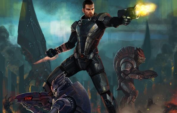 Картинка оружие, война, арт, солдаты, разруха, броня, винтовка, art, Спектр, Mass Effect 3, Коммандер Шепард, Spectre, …