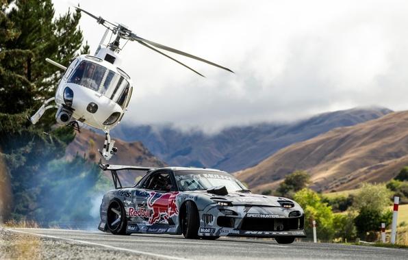 Картинка Горы, Дрифт, Mazda, Drift, Red Bull, Mountain, Helicopter, Вертолёт, Mad Mike, Rx7, Rx-7
