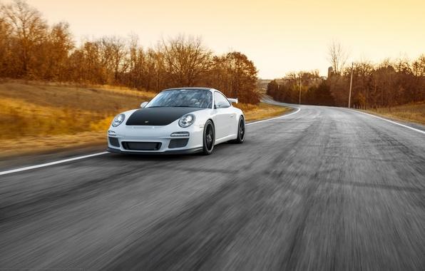 Картинка дорога, белый, 911, Porsche, перед, white, спорткар, порше, GT3, в движение