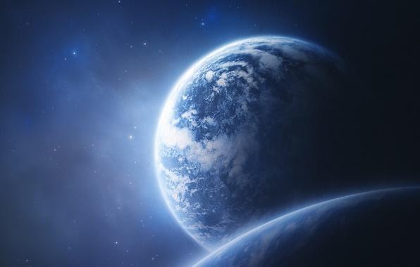 Фото обои планета, звезды, облака