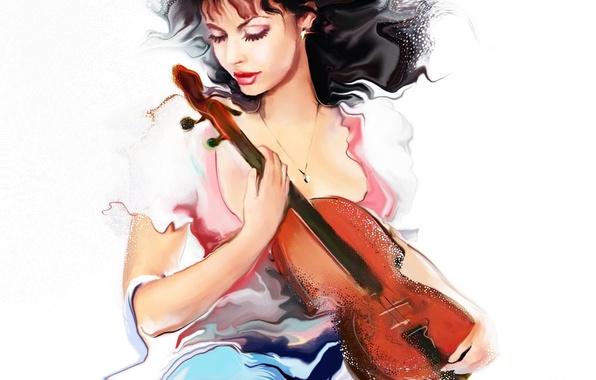 Картинка взгляд, девушка, музыка, скрипка, волосы, художник, белый фон, кудри, Tatiana Nikitina