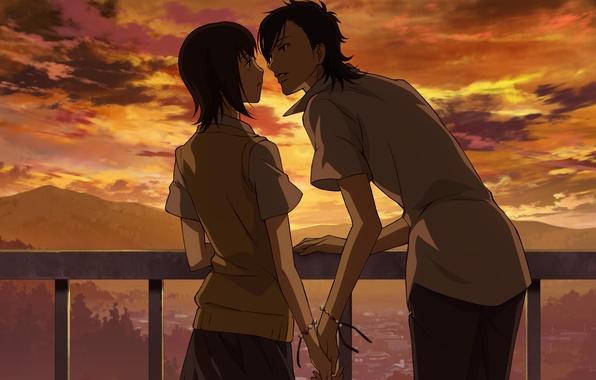 Картинка девушка, облака, закат, пара, парень, влюбленные, школьная форма, Say I love you, почти поцелуй, держатся …