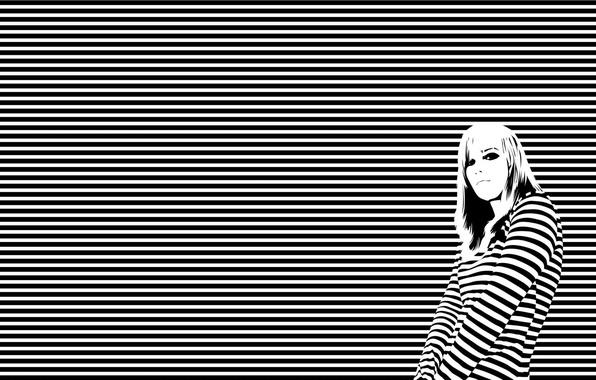 Картинка girl, white, black, lines, horizon