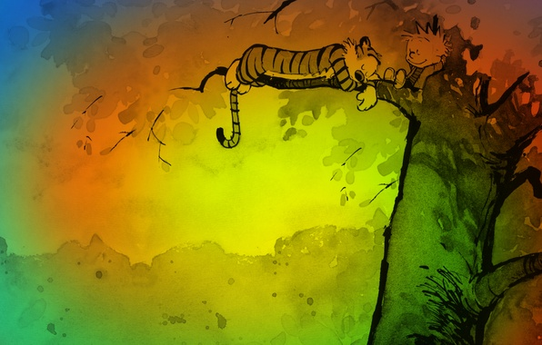 Картинка цвета, тигр, дерево, отдых, рисунок, мультфильм, сон, мальчик, арт, Art, Calvin and Hobbes