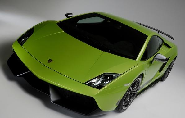 Картинка car, green, Lamborghini, Superleggera, Gallardo, front, LP570-4