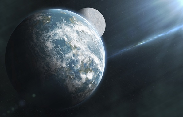 Картинка космос, звезды, планета, спутник, галактика