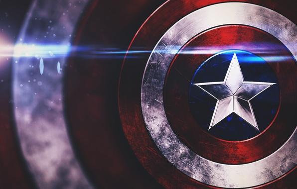 Картинка звезда, щит, captain america, marvel comics