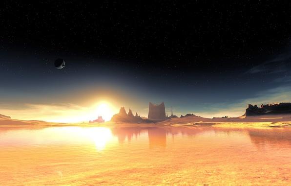 Картинка небо, звезды, чужая планета, фантастический пейзаж, terraspace