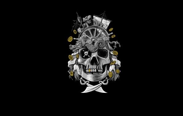 Картинка золото, корабль, череп, скелет, пираты, сабли