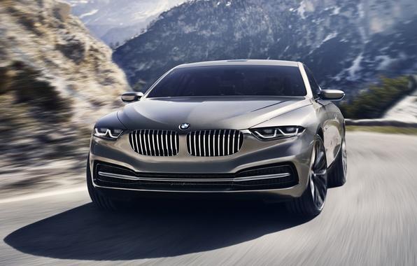 Картинка дорога, фон, купе, BMW, БМВ, концепт, Coupe, передок, Гран Лассо, Gran Lusso
