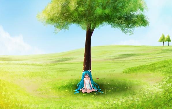 Картинка поле, лето, дерево, девочка