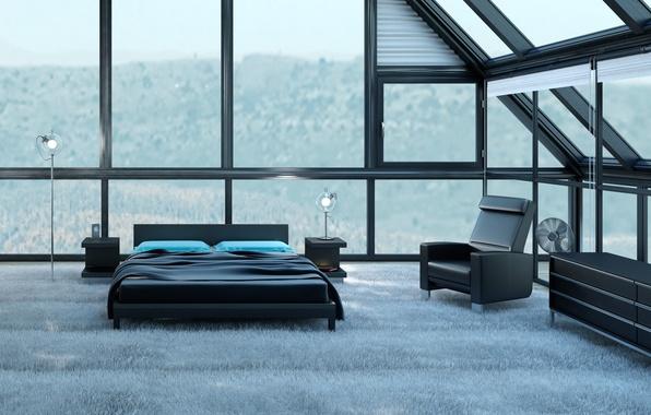 Картинка дизайн, кровать, вентилятор, стул, квартира, design, Интерьер, chair, interior, bed, стильная, stylish, fan, apartment, дизайн …