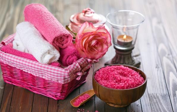 Картинка цветы, масло, полотенце, relax, flowers, спа, still life, candles, соль, spa, salt, wellness