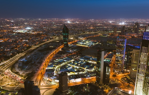 Фото обои освещение, небоскрёбы, город, огни, столица, Эль-Кувейт, ночь, Kuwait City, Кувейт, Kuwait, здания
