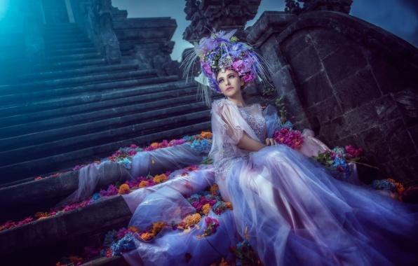 Картинка цветы, лепестки, платье, арт, лунный свет, невеста, blue moon