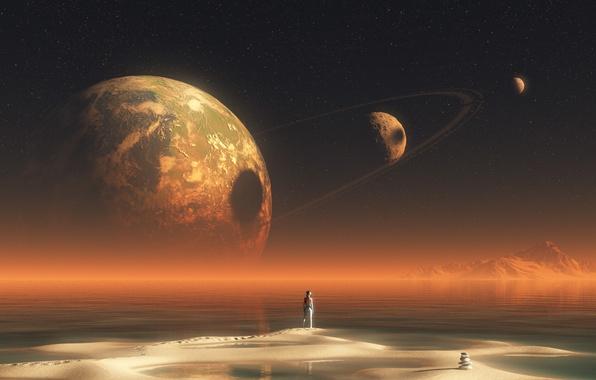 Картинка песок, вода, звезды, пейзаж, горы, следы, озеро, камни, фантастика, планеты, человек, кольца, фигура, скафандр, пирамида, …