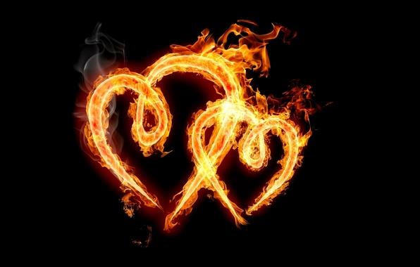 Картинка фон, чёрный, сердца, два, огненых