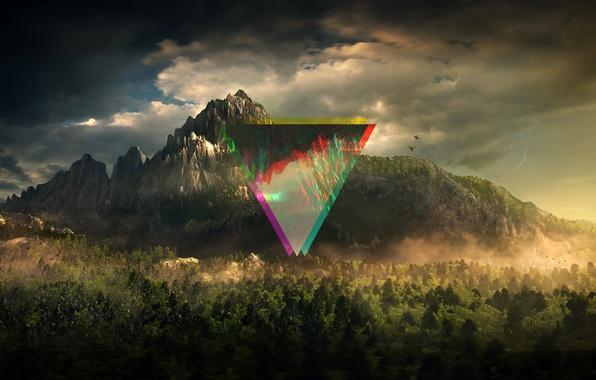 Картинка лес, небо, деревья, линии, горы, абстракция, цвет, треугольник