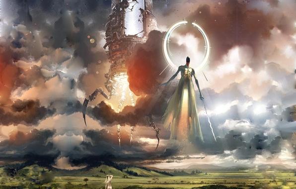 Картинка Ева, Адам, Бог из машины