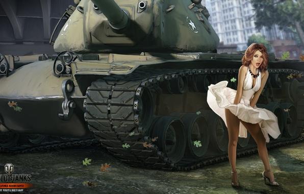 Картинка девушка, юбка, танк, girl, USA, танки, WoT, Мир танков, tank, World of Tanks, tanks, Wargaming.Net, …