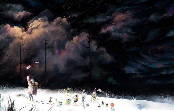Картинка снег, ночь, тучи, волшебство, девочка, сказочные, создания, Scenic toy