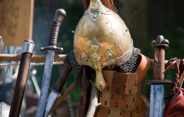 Картинка оружие, доспехи, шлем, мечи